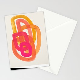 Funky Retro 70' Style Pattern Orange Pink Greindent Striped Circles Mid Century Colorful Pop Art Stationery Cards