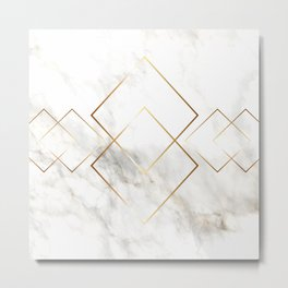 White Marble With Gold Pattern Metal Print