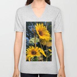 Sunflowers Facing the Sun Digital Photography Unisex V-Neck