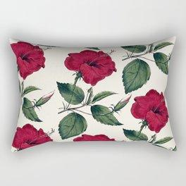 Botanical vintage dark red green ivory floral Rectangular Pillow