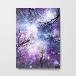 Black Trees Violet Purple Blue Space Metal Print