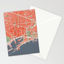 Barcelona city map classic Stationery Cards