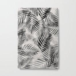 Palm Leaves - Black & White Metal Print