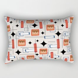Mid Century Modern Fawn 1950s Atomic Abstract Pattern Rectangular Pillow