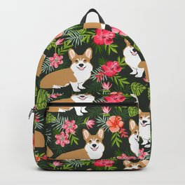 Corgi Hawaiian Print Tropical hibiscus flower cute corgi dog pattern Backpack