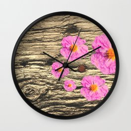 Rough Wood and Flowering Pink Flowers Wall Clock