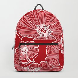 Holly Berry Red Poppies Drawing Backpack