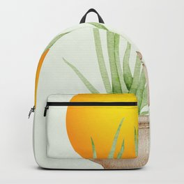 Hand Drawn Set, Bohemian Pot Of Aloe, sunshine, minimal potted plants, No 03 Backpack