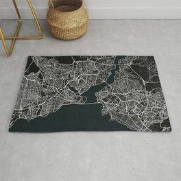 Istanbul City Map of Turkey in Dark Grunge Rug