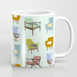 Cats Sleeping on Mid Century Modern Chairs Coffee Mug