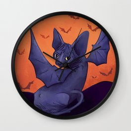 Black Bat Sphynx Kitten - Halloween Art Wall Clock
