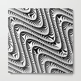 Black and White Serpentine Pattern Metal Print