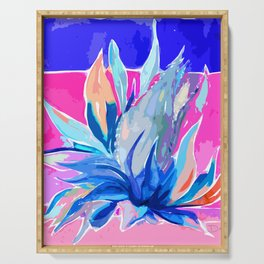 Agave From Toledo, Spain Abstract, Blue and Hot Pink Bright Serving Tray