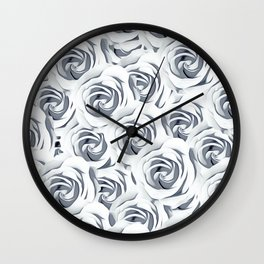 rose pattern texture abstract background in black and white Wall Clock