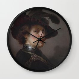 'Tronie' of a man with a feathered beret Wall Clock