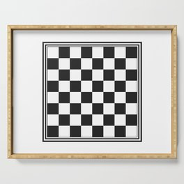Vintage Chessboard & Checkers Black on White Serving Tray
