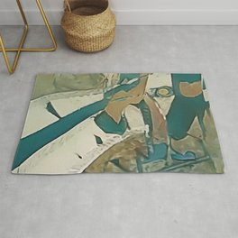 Echo with Exclusion - Modern Abstract Art Rug