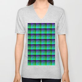 Purple and Teal Checkered Pixel Art Pattern Unisex V-Neck
