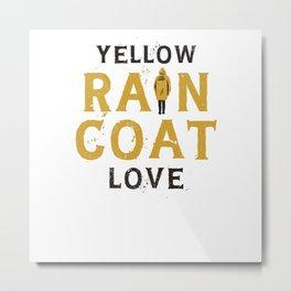 Yellow Raincoat Women Metal Print