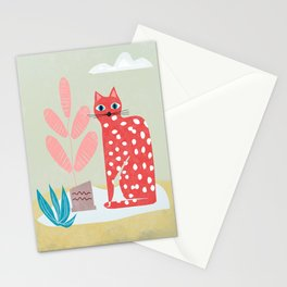 Red Dotted Cat Stationery Cards