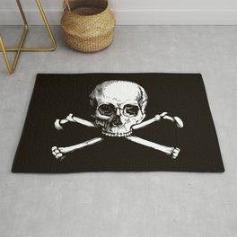 Skull and Crossbones | Jolly Roger | Pirate Flag | Black and White | Rug