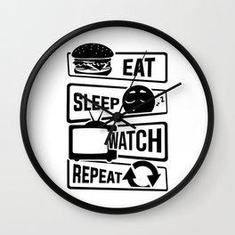 Eat Sleep Watch Repeat - TV Series Couch Binge Wall Clock