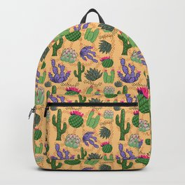 Succulent Cactus with Tan Background Backpack