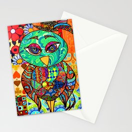 Adorable Patchwork Colorful Owl Stationery Cards