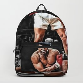Mama Said I'm Gonna Knock You Out - Ali Knocks out Liston Boxing Portrait Painting oil on canvas Backpack