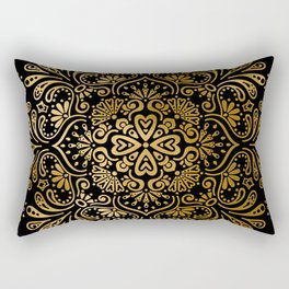Sophisticated Black and Gold Art Deco Pattern Rectangular Pillow