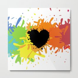 Black Heart On Colorful Background Metal Print