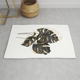black monstera minimal poster Rug