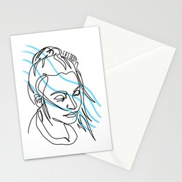 the girl in the rain Stationery Cards