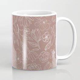 Mauve Magnolia Pattern Coffee Mug