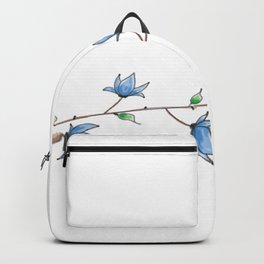 abstract Little blue bell flowers watercolor Backpack