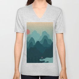 Forest and Mountian Unisex V-Neck