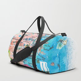 Miami Florida  Illustrated  Travel  Map  with  Roads  and  Highlights Duffle Bag