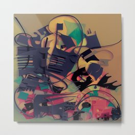 Aquarium- Abstract Paper Collage Fantasy Metal Print