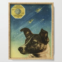 Laika — Soviet vintage space poster Serving Tray