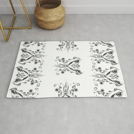 Owl flying with a necklace of flowers and shells Rug
