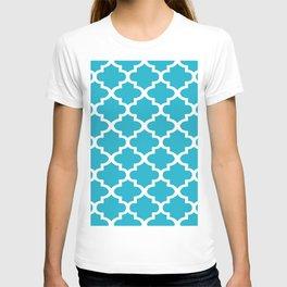 Arabesque Architecture Pattern In Cerulean Blue T-shirt