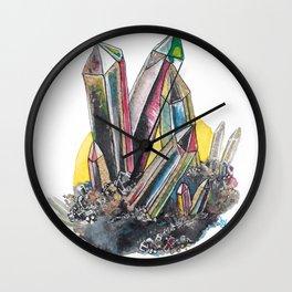 Rainbow Metallic Crystals Wall Clock