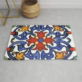 Talavera Mexican tile inspired bold design in blue, green, red, orange Rug