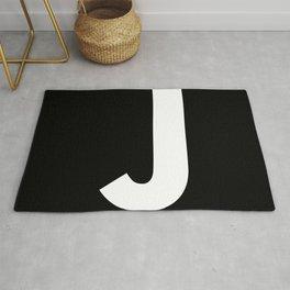 Letter J (White & Black) Rug