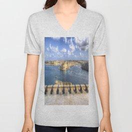Saluting Battery Valletta Harbour Unisex V-Neck
