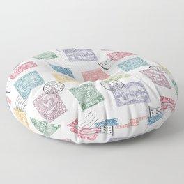 Colorful postmark Floor Pillow