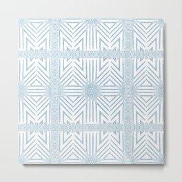 Nappy Faux Velvet Framed Wicker Repeat in Blue Reversed Metal Print