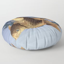 Hokusai – two carps -葛飾 北斎,engraving,carpa, fish. Floor Pillow