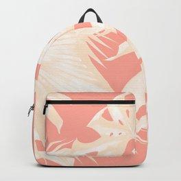 Tropical Coral Pink Palm Leaf Pattern Backpack
