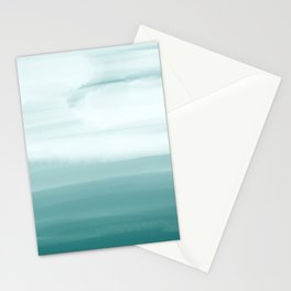 Ocean Sky // Surf Waves Teal Blue Green Water Clouds Watercolor Painting Beach Bathroom Decor Stationery Cards
